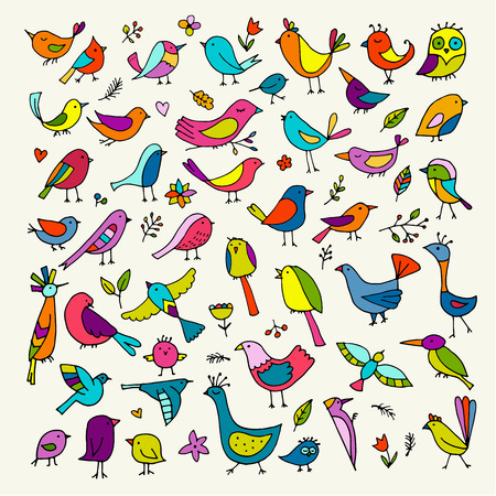 Birds collection, sketch for your design. Vector illustration Illusztráció