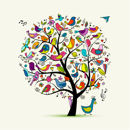 Tree with birds, sketch for your design Stock Vector - 109468928