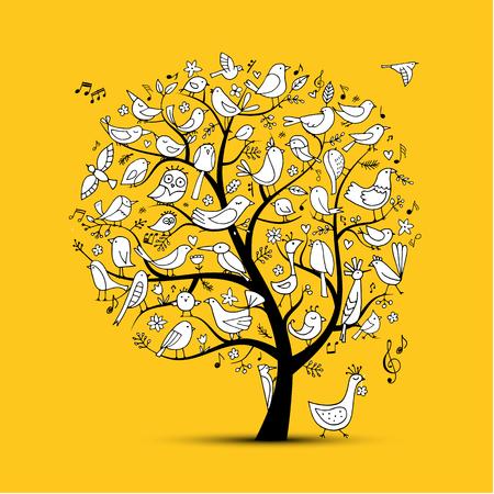 Rbol con pájaros, boceto de su diseño Foto de archivo - 109468934