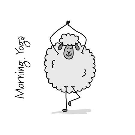 Grappige schapen die yoga doen, schets voor uw ontwerp