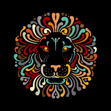 Lion face logo colorful, sketch for your design Stock Illustratie