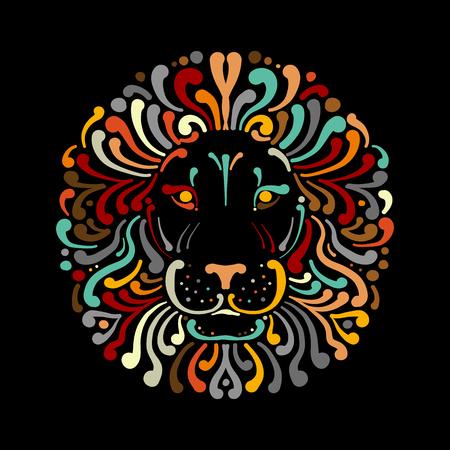 Lion face logo colorful, sketch for your design Illustration
