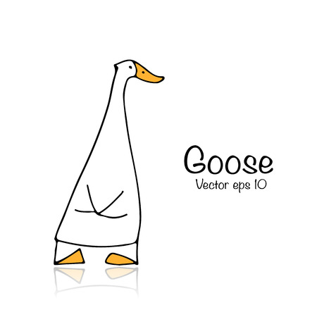 Funny goose, sketch for your design 矢量图像