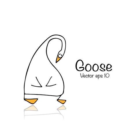 Funny goose, sketch for your design Stock Illustratie
