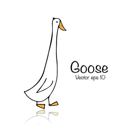 Funny goose, sketch for your design Illustration