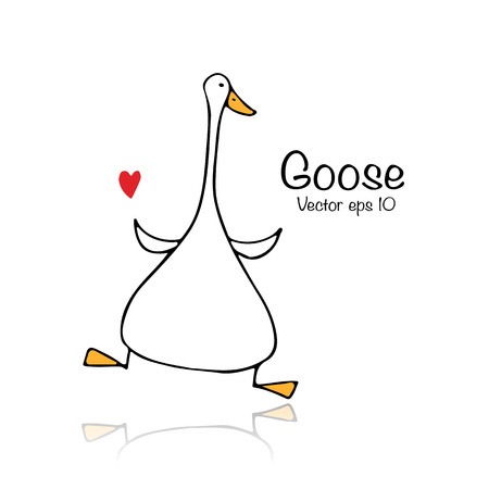 Funny goose, sketch for your design Vectores
