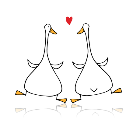 Funny goose couple, sketch for your design Foto de archivo - 109469125