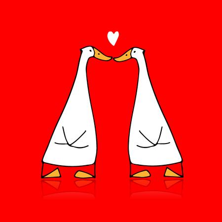 Funny goose couple, sketch for your design Foto de archivo - 109469127
