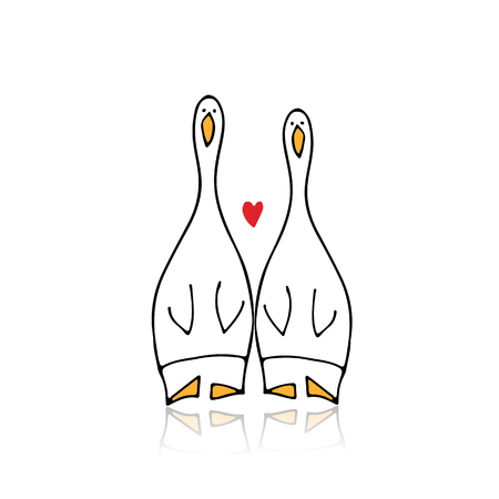 Funny goose couple, sketch for your design 写真素材 - 109469130