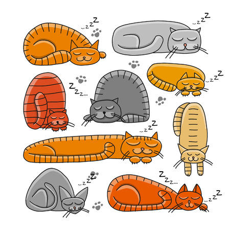 Sleeping cats, sketch for your design. Vector illustration