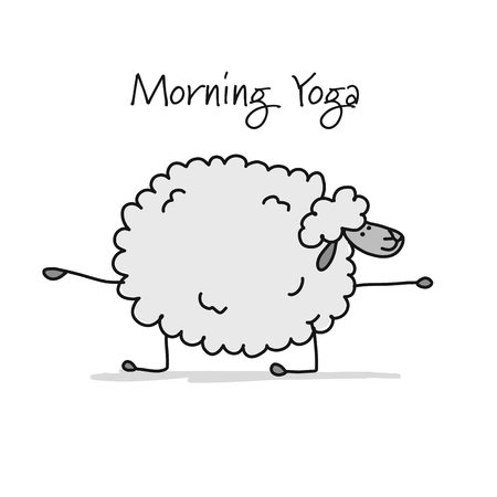 Funny sheep doing yoga, sketch for your design