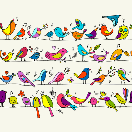 Birds family, seamless pattern for your design. Vector illustration Ilustração