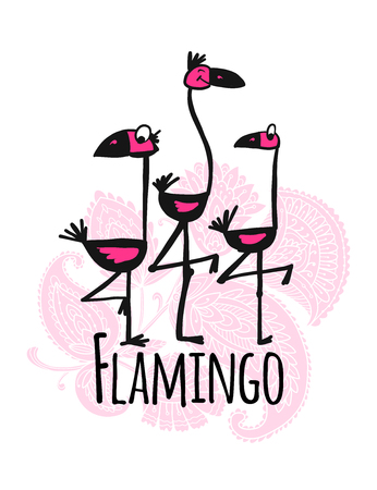 Cute flamingos on floral background, sketch for your design