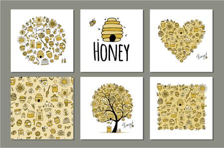 Ensemble de miel - cadre, arbre, coeur. Esquisse pour votre conception
