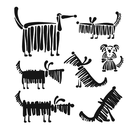 Funny dog, collection for your design Illustration
