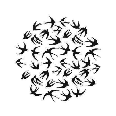 Hirondelles, cadre de cercle pour votre conception. Illustration vectorielle