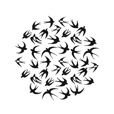 Swallows, circle frame for your design. Vector illustration Ilustração
