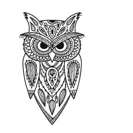 Ornate owl, zenart for your design Stock Vector - 109469169