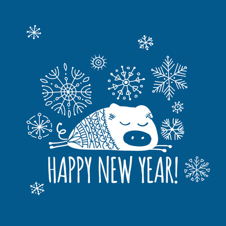Christmas card with funny pig, symbol of 2019 year for your design Stock Vector - 109469170