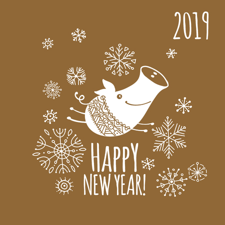 Christmas card with funny pig, symbol of 2019 year for your design Illustration