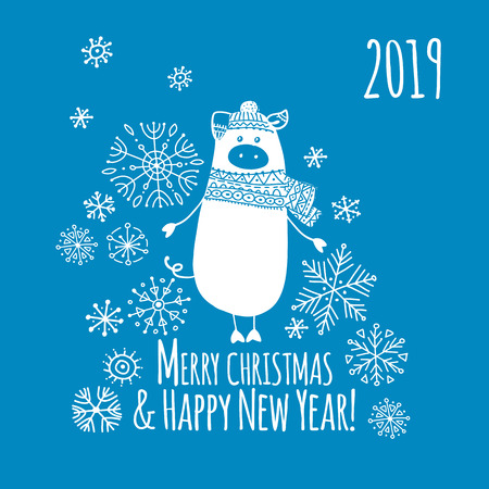 Christmas card with funny pig, symbol of 2019 year for your design Stock Vector - 109469173