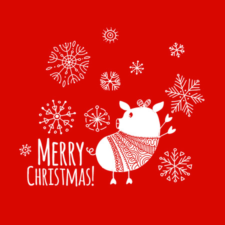 Christmas card with funny pig, symbol of 2019 year for your design Stock Vector - 109469175