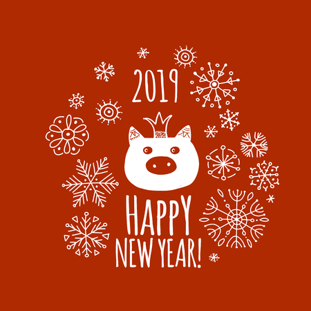 Christmas card with funny pig, symbol of 2019 year for your design Stock Vector - 109469177