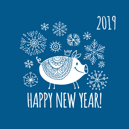 Christmas card with funny pig, symbol of 2019 year for your design Stock Vector - 109469178