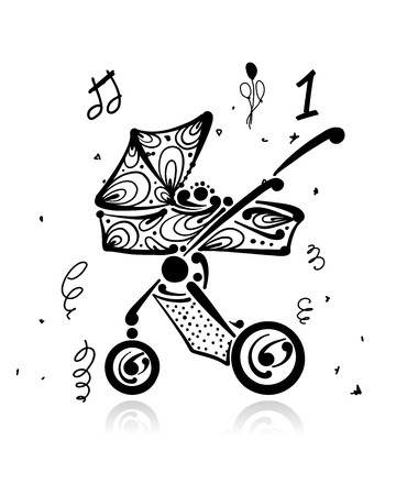 Baby carriage, ornate silhouette for your design
