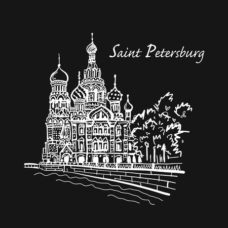 Saint Petersburg. Church of the Saviour on Spilled Blood. Russia. Sketch for your design Stock Photo - 109468967