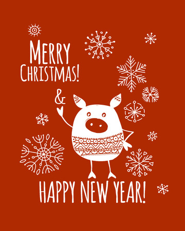 Christmas card with funny pig, symbol of 2019 year for your design Stock Vector - 109468970