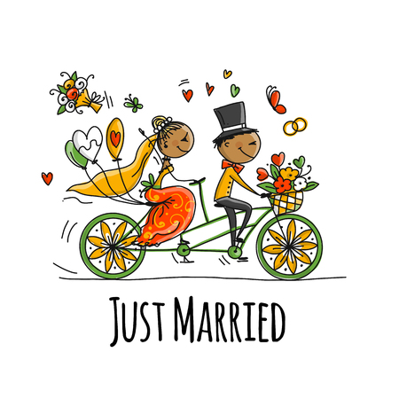 Wedding card design. Bride and groom riding on bicycle. Vector illustration