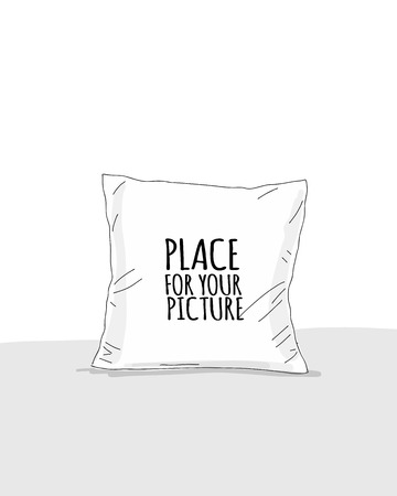 Maqueta de almohada con lugar para su diseño. Ilustración vectorial Ilustración de vector