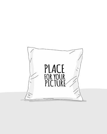 Modello di cuscino con posto per il tuo design. Illustrazione vettoriale Vettoriali