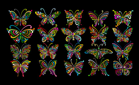 Ornate butterfly collection for your design. Vector illustration Banque d'images - 110234753