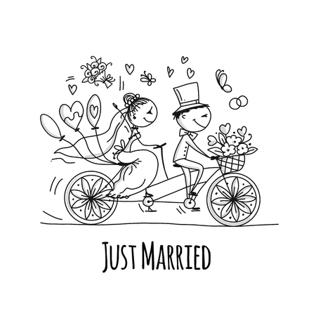 Bruiloft kaart ontwerp. Bruid en bruidegom rijden op de fiets. vector illustratie