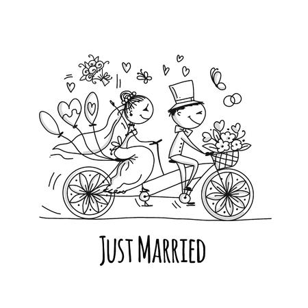 Diseño de tarjetas de boda. Novios montando en bicicleta. Ilustración vectorial