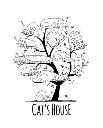 Tree with sleeping cats, sketch for your design