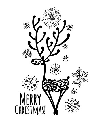 Christmas card with ornamental deer for your design. Vector illustration Illustration