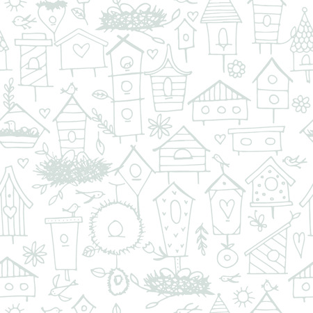 Birdhouses, seamless pattern for your design. Vector illustration Illustration