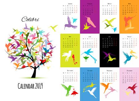 Colibri, calendar 2019 design Illustration