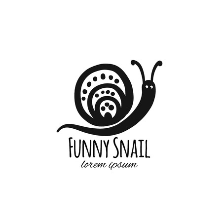 Funny snail, black silhouette for your design 写真素材 - 110287161