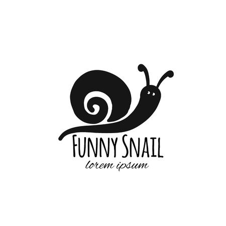 Zabawny ślimak, czarna sylwetka do swojego projektu