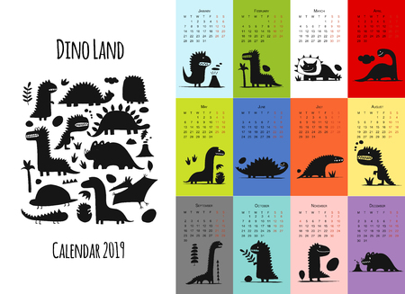 Dinosaurs, calendar 2019 design 矢量图像