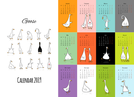 Funny goose, calendar 2019 design Foto de archivo - 110287540