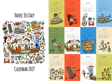 Travel to Italy, calendar 2019 design