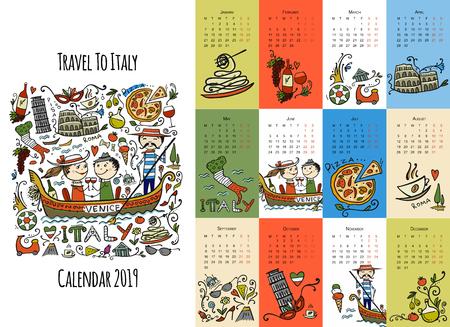 Viaggio in Italia, design del calendario 2019 Vettoriali
