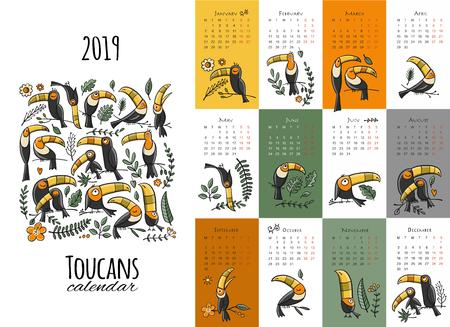 Toucans, calendar 2019 design Ilustrace