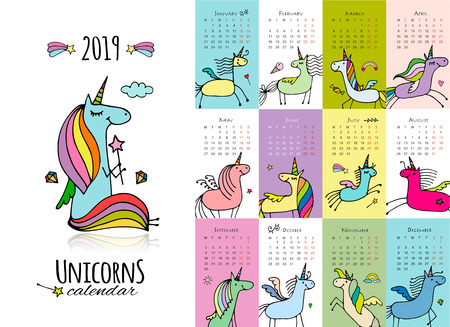 Cute unicorns. Calendar 2019 Фото со стока - 110343078