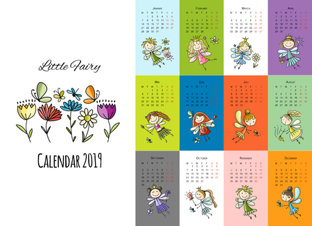 Little fairies, calendar 2019 design